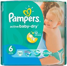Pampers Active Baby Dry 6 - Extra Large - Пелени за еднократна употреба за бебета с тегло над 15+ kg -