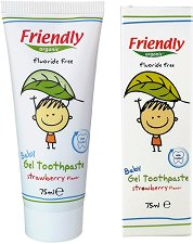Friendly Organic Baby Gel Toothpaste - Бебешка паста за зъби без флуорид с аромат на ягода -